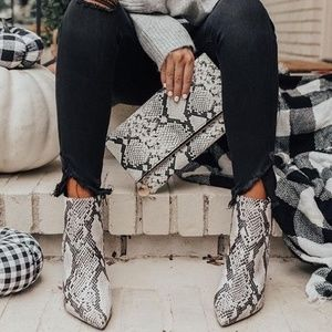 MARC FISHER Jelly Snakeskin Print Heeled Booties